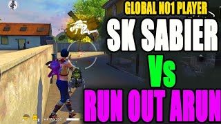 Sk Sabier Vs RunOutArun|| rank squad match || global no 1 players gameplay|| Run Gaming
