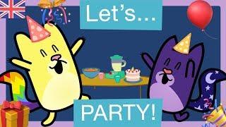 🎉HOW to PLAN a BIRTHDAY PARTY! 🎈   CARTOONS for KIDS in ENGLISH-SPANISH   Gato Rainbow & Gata Moon