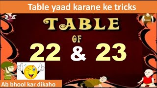 Easy and Quick  maths Trick to learn  table of 22  and 23 in 5 sec multiplication table of 22 and 23