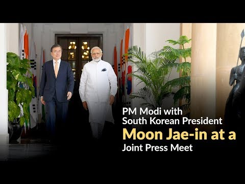 PM Modi with South Korean President Moon Jae-in at a Joint Press Meet