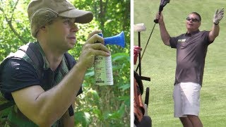 AIRHORN GOLF PRANK! (GOLFERS COME AFTER US)