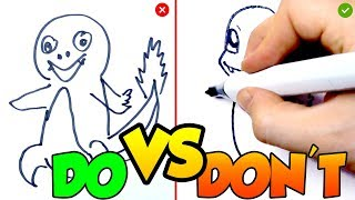 DOs & DON'Ts - Drawing Charmander POKÉMON In 1 Minute CHALLENGE!