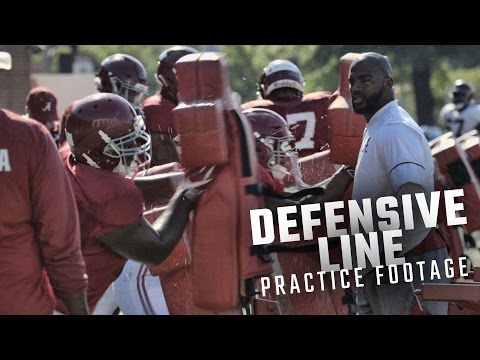 Da'Shawn Hand, Isaiah Buggs, and Alabama's defensive line run drills during spring practice
