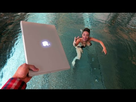 ANGRY BROTHER THROWS MACBOOK PRO IN POOL !! 💻 🏊  (REVENGE PRANK)
