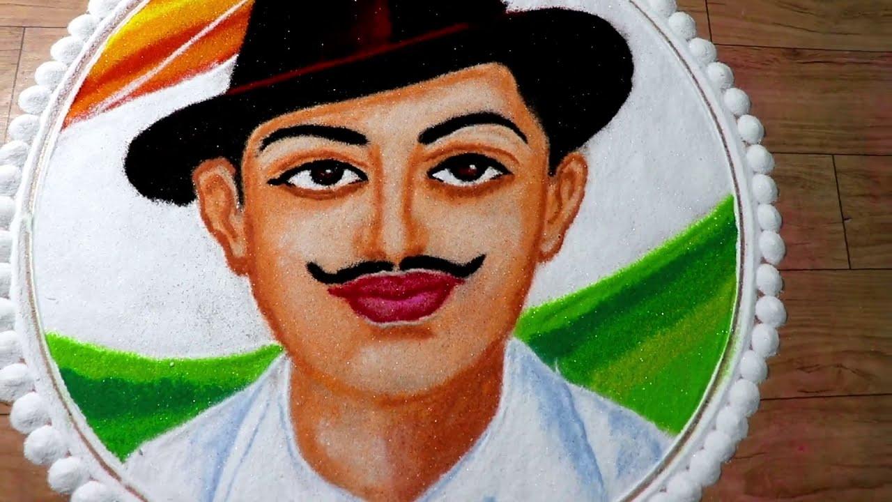 bhagat singh republic day special portrait rangoli design by jeet rangoli