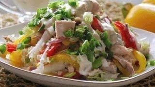 Салат Курочка-Снегурочка. Салат с болгарским перцем и курицей,