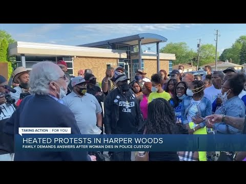Heated protest in Harper Woods as family demands answers after woman dies in police custody