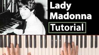 """Como tocar """"Lady Madonna""""(The Beatles) - Piano tutorial y partitura"""