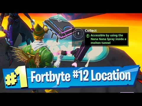 Fortnite Fortbyte #12 Location - Accessible by using the Nana Nana Spray inside a molten tunnel