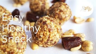 Peanut Date Bites | Healthy and Portable Protein Snack | Healthy Grocery Girl®