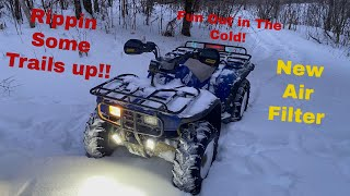 1992 Honda Fourtax New Air Filter/GoPro fpv/Pulling The Honda Out of a Snowy Grave and Rippin Trails