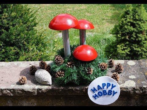 Pilze aus Trockenbeton und Metallstange, mit Plastikschüssel, Tiefengrund und Lackfarbe, DIY