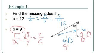 9.7 Special Right Triangles 45-45-90, 30-60-90 - Honors Geometry