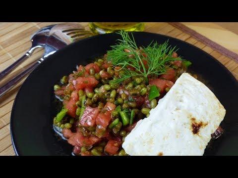 MUNGOBOHNEN Salat | Vegetarische Vitaminbombe mit Fetakäse Steak - Schnelle gesunde Mahlzeit