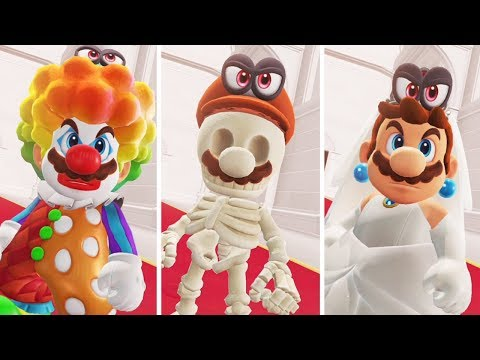 Super Mario Odyssey - Bowser's Reaction to All Mario Outfits