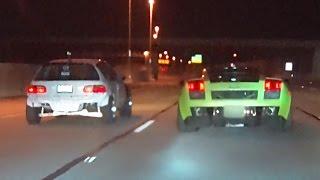 Turbo CIVICS vs Twin Turbo LAMBORGHINI!?