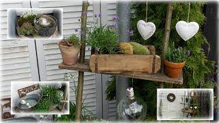 Außendeko für Terrasse und Balkon | diy Leiter gestalten | Blumen und Dekoration