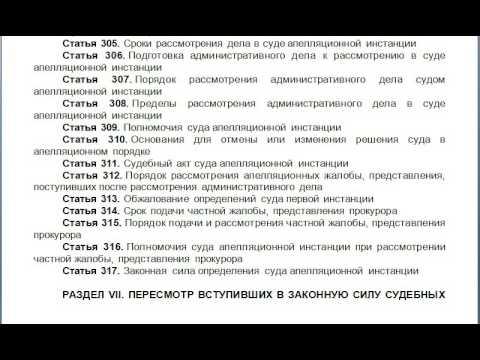 Глава 34  Производство в суде апелляционной инстанции, содержание КАС 21 ФЗ РФ статьи