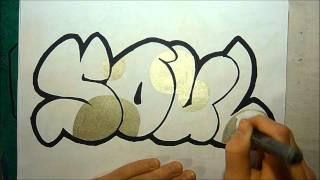 Graffiti Sketch Soul in Bubble Letters By EastSider