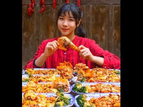 #大胃王#吃貨 農村吃貨消滅三十斤椒麻雞