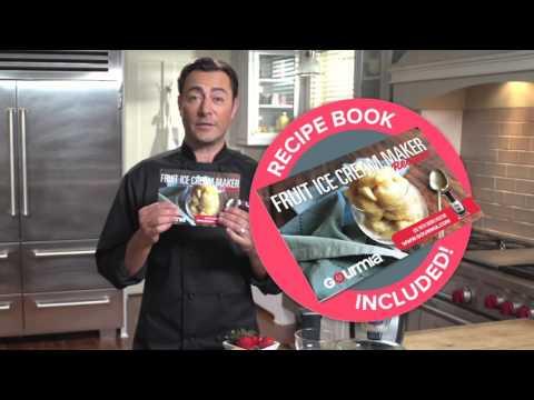 , Gourmia GSI180 Automatic Healthy Frozen Dessert Maker, Makes Sorbet, Soft-Serve Sherbet & Frozen Fruit Treats, Includes Free Recipe Book
