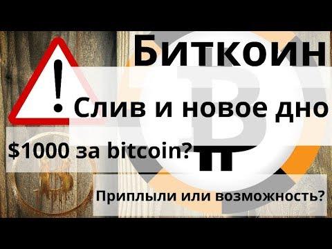 Биткоин. Слив и новое дно. $1000 за bitcoin? Приплыли или возможность? (видео)
