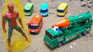 Military Vehicles Rocket Truck Troll Tayo the Little Bus | Spiderman Race Bike Rescues for Children