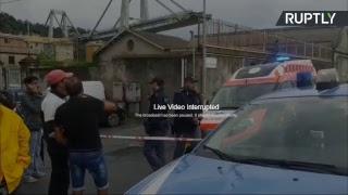 Прямая трансляция с места обрушения моста в Генуе