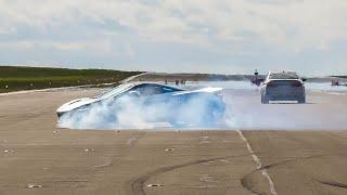 950HP McLaren 720S Nearly Crashes during Drag Race! 950HP McLaren 720S vs AMG GT R PRO vs 750HP M5