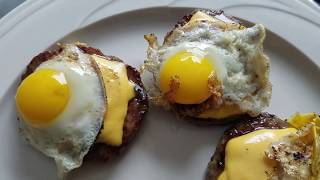 Quail Eggs on Sausage Patties (Video)
