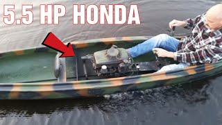 Canoe With 5.5HP Motor From A Lawnmower 20KM/H
