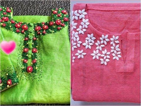 Easy Hand Embroidering Pattern On Churidar Kurti Neck Design