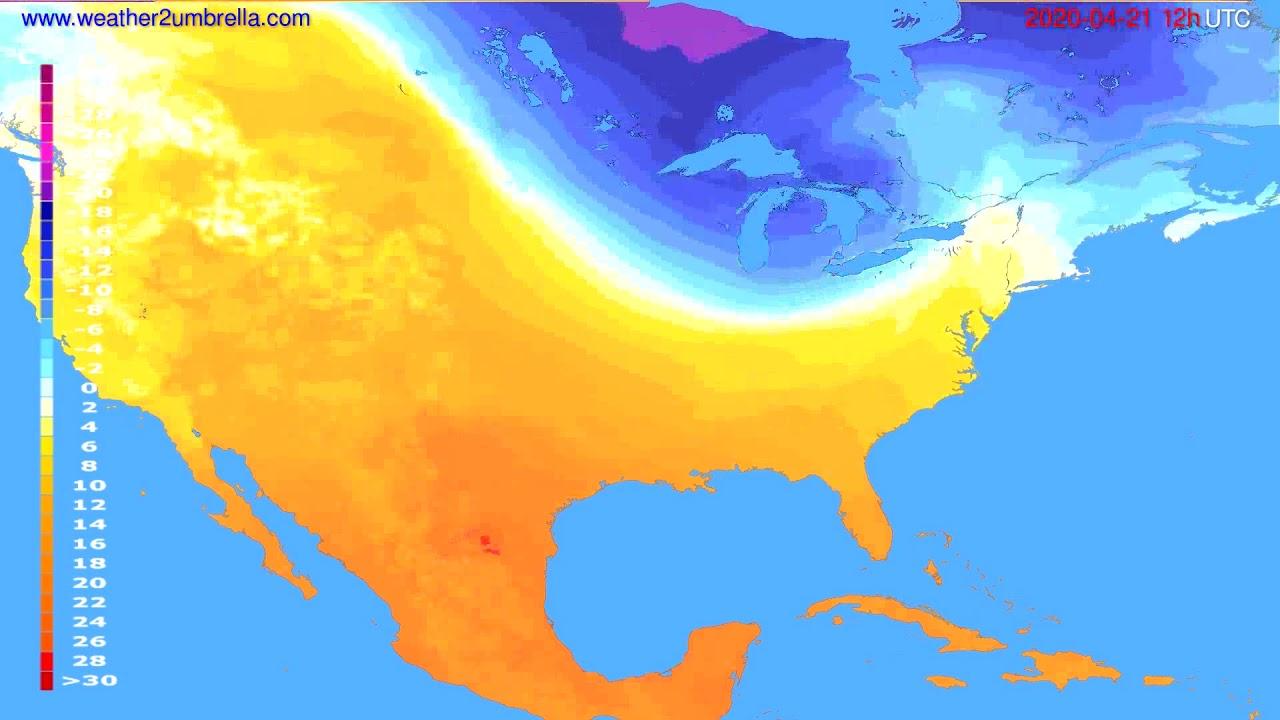 Temperature forecast USA & Canada // modelrun: 00h UTC 2020-04-21