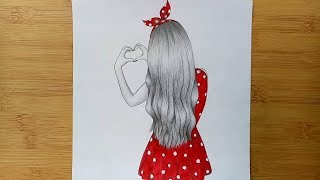 Valentines Day Drawing Step By Step // How To Draw A Girl