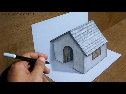 Trick art drawing 3d tiny house on paper steemit