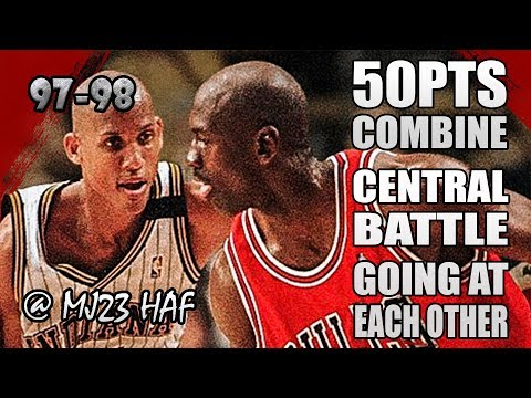 Michael Jordan Reggie Miller Highlights vs Pacers (1997.11.28) - 50pts Combine! Going at Each Other!