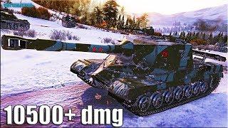 Объект 268 бой БЕЗ СТОЯЛОВА 🌟 10500+ dmg 🌟 World of Tanks лучший бой пт 10