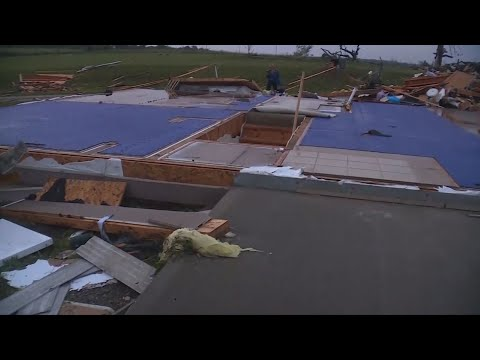 Damage is widespread in areas of Kansas near Kansas City, after multiple tornadoes tore through on Tuesday. Towns dealing with damage include Linwood, Bonner Springs and Pleasant Grove. (May 29)