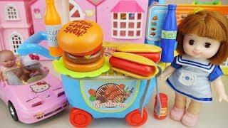 Baby doll and hot dog hamburger shop car cooking play