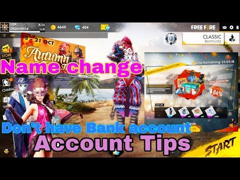 Free Fire Account Tips/Name change/Offers   Don't have Bank account
