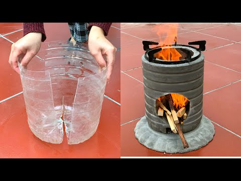 Take Advantage Of Old Plastic Bottles To Make Cement Stoves - Crafts With Cement
