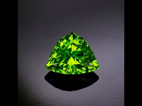 Triangular Shield Cut Peridot from Pakistan Weighs 7.53 Carats