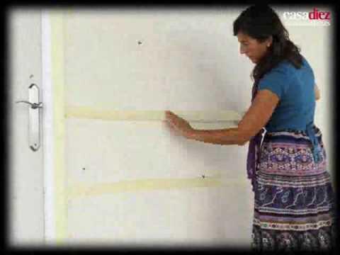 Como pintar lineas horizontales en las paredes - Pintar salon pequeno dos colores ...