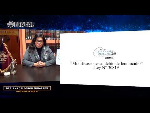 Programa 83 - Modificaciones al delito de feminicidio (ley 30819) Luces Cámara Derecho EGACAL