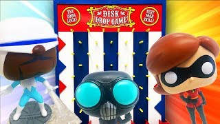 Incredibles 2 Disk Drop Game with Funko Pop Toys! Featuring Mr Incredible, Elastigirl, and Dash!