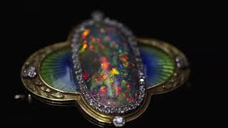 Antique Black Opal, Diamond, Enamel, Platinum, Gold Brooch, Marcus & Co.