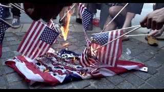 Protesters Burn American Flag in Columbus Circle NYC