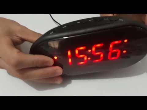 Radio Relógio Despertador Digital LED Elétrico De Mesa cabeceira Am Fm