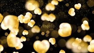 golden heart background hd video download, golden heart background wallpaper, Royalty Free Footages