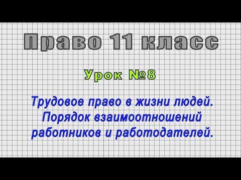 Право 11 класс (Урок№8 - Трудовое право в жизни людей. Порядок взаимоотношений.)